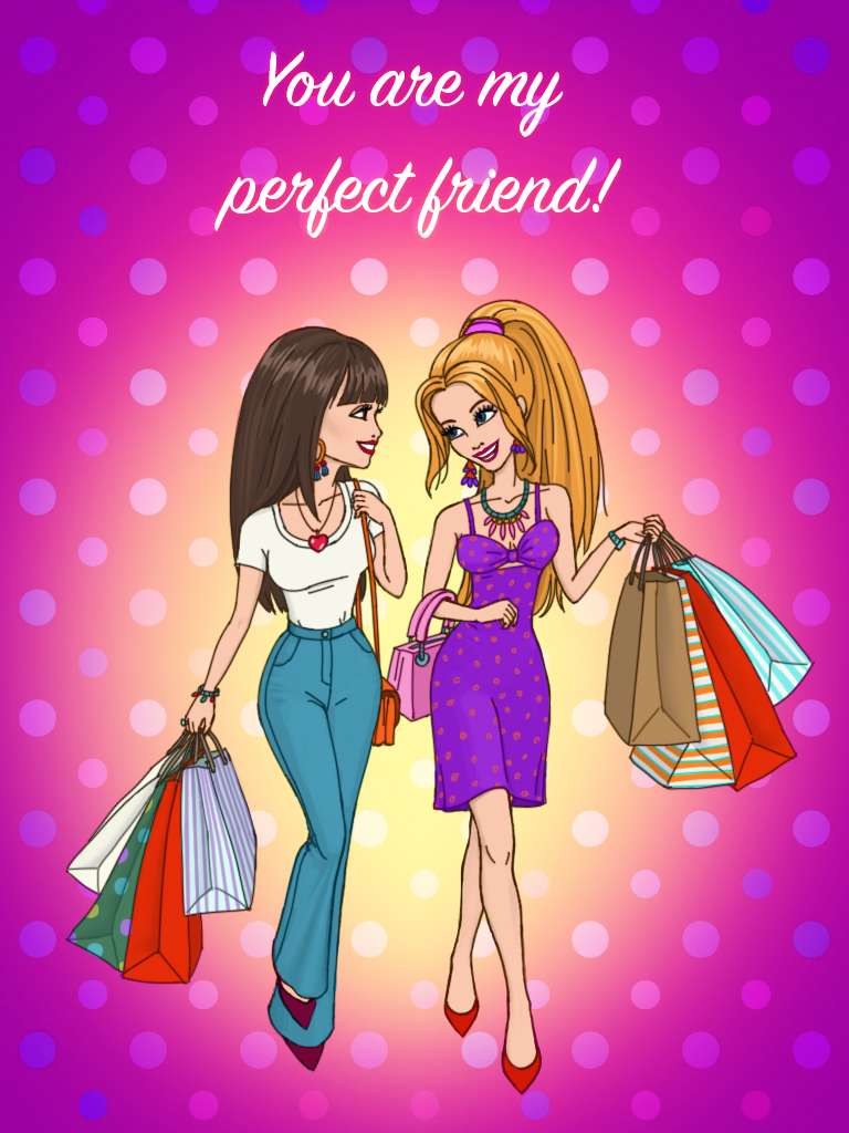 Shopping girls card