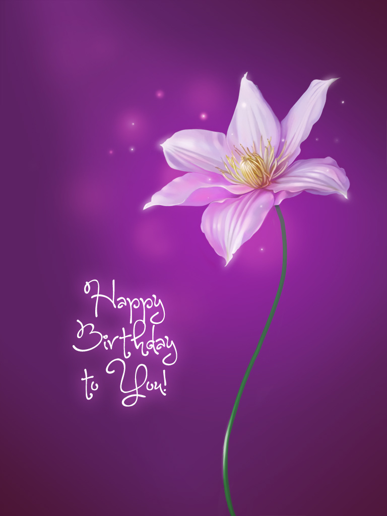 Purple Flower Free Birthday Cards